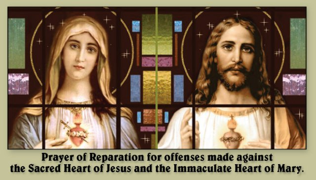 Prayer of Reparation to the Hearts of Jesus & Mary Holy Card