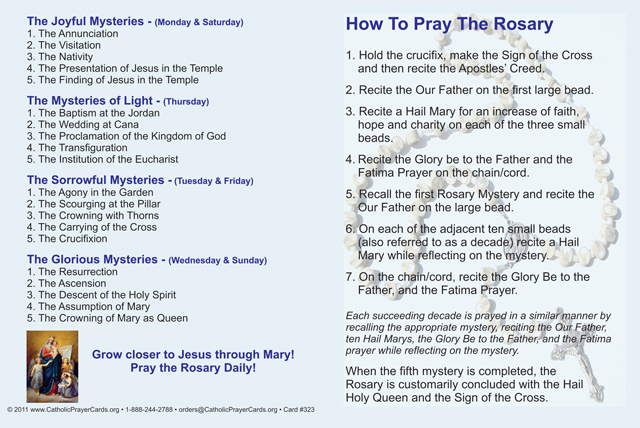 How to Pray the Rosary Fold-over Card(FOR THOSE UNABLE TO ATTEND MASS)
