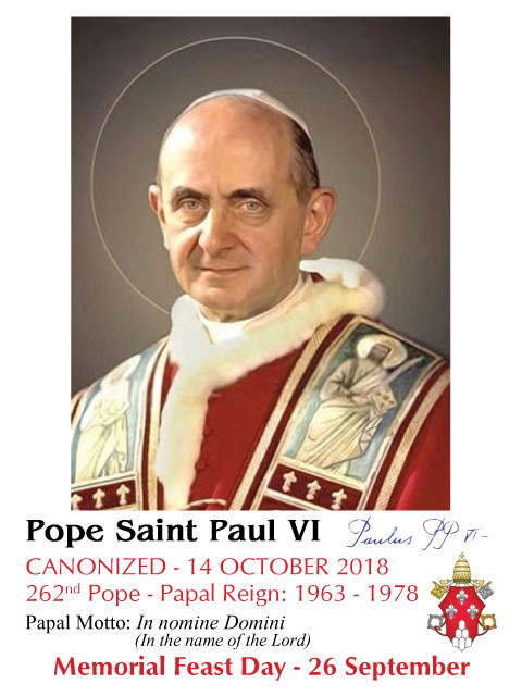 Special Limited Edition Collector's Series Commemorative Pope Paul VI Canonization Holy Cards