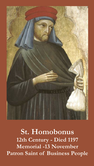 St. Homobonus Prayer Card(PATRON SAINT OF BUSINESS OWNERS-FOR THOSE HURTING DUE TO COVID-19))