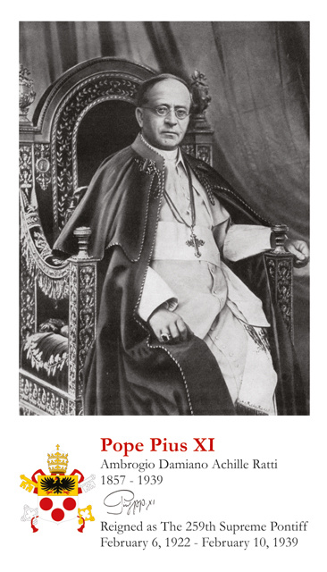 Pope Pius XI Holy Card