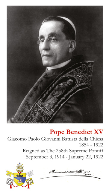 Pope Benedict XV Holy Card