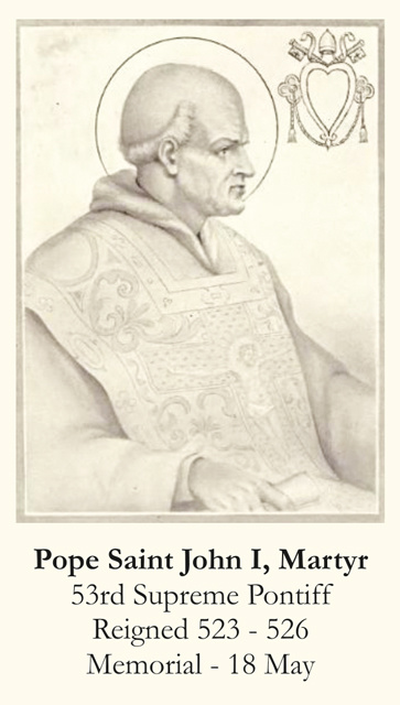 Pope Saint John I Prayer Card
