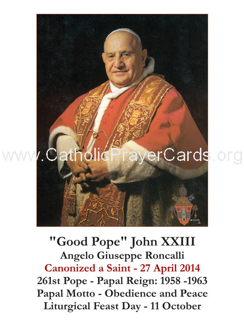 Pope John XXIII Canonization Holy Card