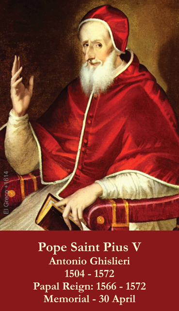 Pope St. Pius V Prayer Card