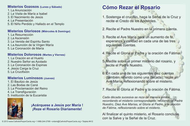 *SPANISH*How to Pray the Rosary Fold-over Card(FOR THOSE UNABLE TO ATTEND MASS)