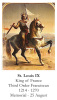 St. Louis IX Prayer Card
